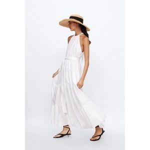 Zara white linen dress halter top flared maxi sz:M